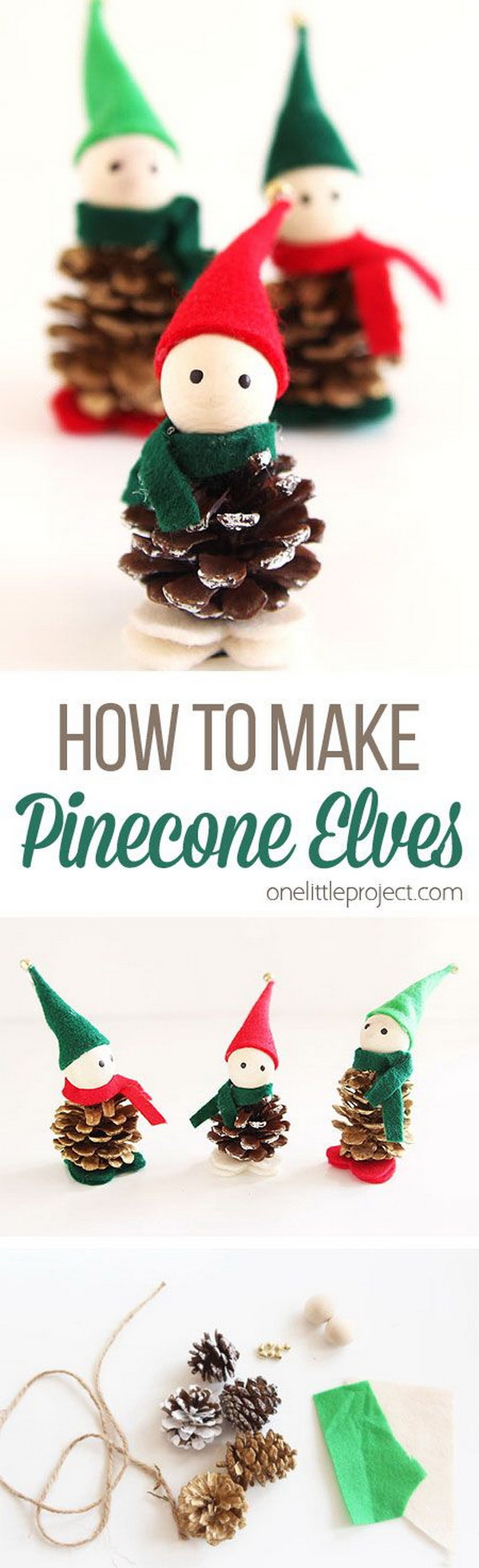 Pinecone Elves. Easy and Fun DIY Christmas crafts for You and Your Kids to Have Fun.
