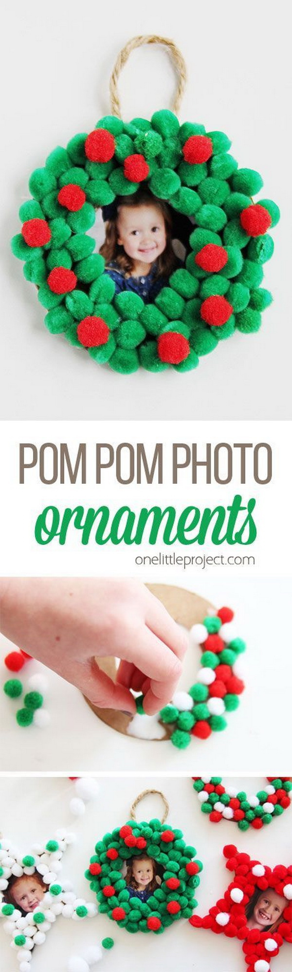 Pom Pom Christmas Photo Ornaments. Easy and Fun DIY Christmas crafts for You and Your Kids to Have Fun.