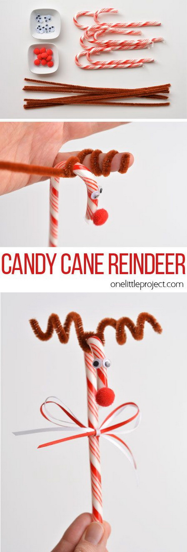 Candy Cane Reindeer. Easy and Fun DIY Christmas crafts for You and Your Kids to Have Fun.