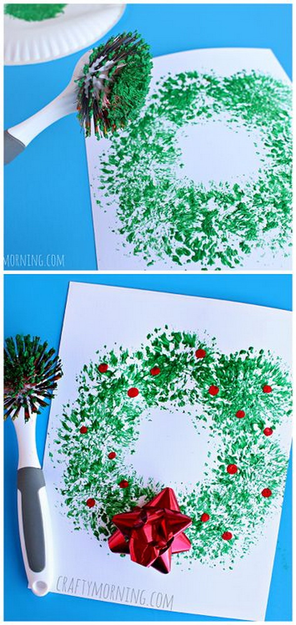 Dish Brush Wreath Craft - Easy Christmas craft for kids to make! Easy and Fun DIY Christmas crafts for You and Your Kids to Have Fun.