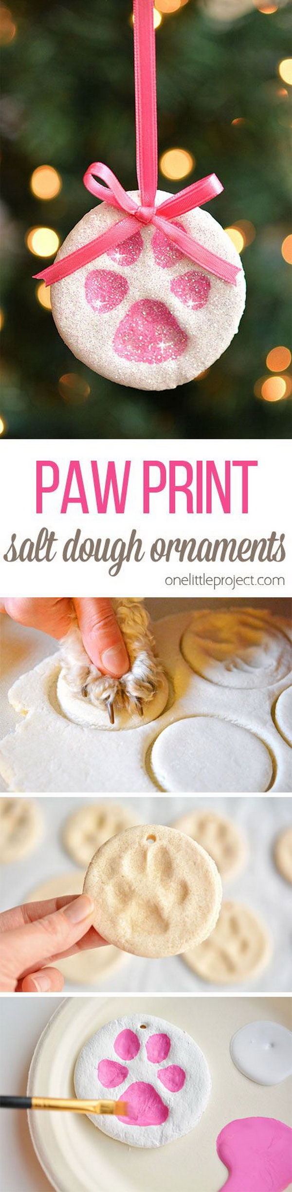 Paw Print Salt Dough Ornaments. It is so easy and fun to make a puppy paw print christmas ornament out of salt dough. Easy and Fun DIY Christmas crafts for You and Your Kids to Have Fun.