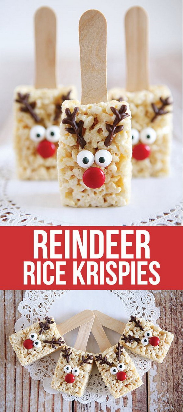 Reindeer Rice Krispies. These no bake Reindeer Rice Krispie will be the cutest treat for Christmas season. Easy and Fun DIY Christmas crafts for You and Your Kids to Have Fun.