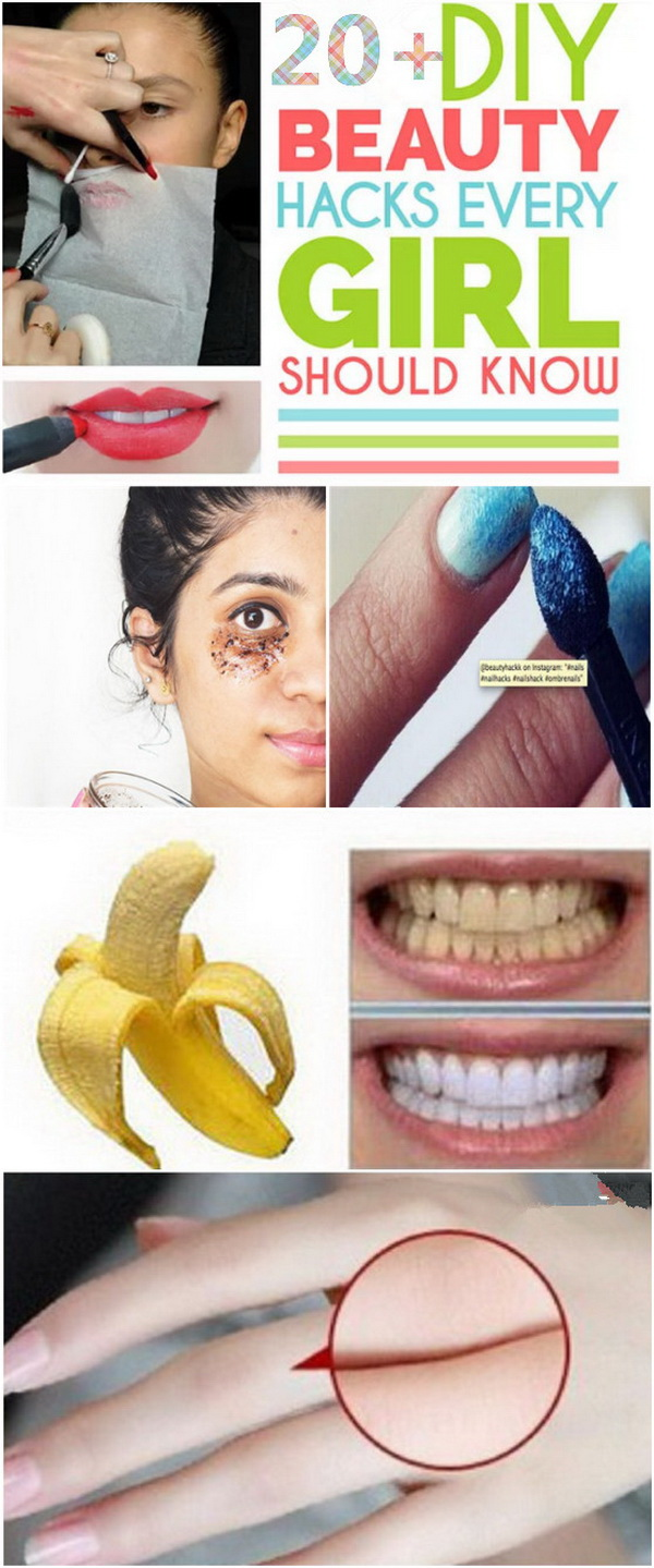 20+ DIY Beauty Hacks Every Girl Should Know. Every girl needs some tricks and tips to help her look her best and stay beautiful and attractive. Here we are sharing with you a fantastic roundup of 20+ Great DIY beauty hacks to get you looking and feeling fantastic! From tips and tricks on how to get rid of wrinkles in minutes, to homemade natural remedies to get rid of white hair forever, this list is a compilation of most creative and life-saving beauty hacks every woman needs to knowa and would surely help you in every day's beauty routine. So, scroll through these beauty hacks and learn some valuable and useful insider tips!