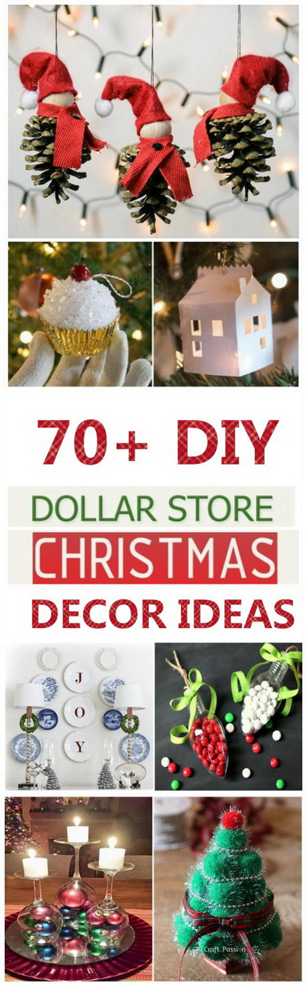 70+ DIY Dollar Store Christmas Decor Ideas. Christmas is one of the most cheerful holidays of the year. It is the season for decorating, gift-giving and crafting, which will cost a lot of money. Because most of the store-bought items are very expensive. But with a little DIY skills and creativity, everything will become easy. Here are some great decorating or gift ideas for Christmas that are madewith items from the Dollar Store!
