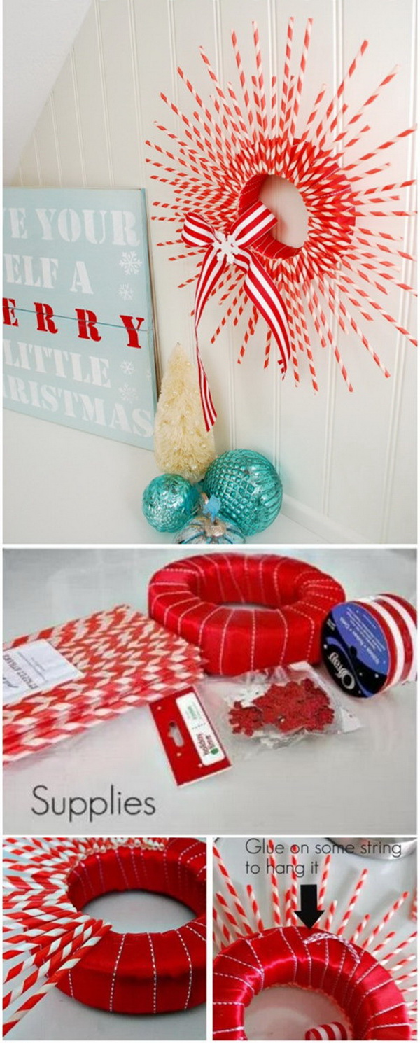 Make your home look festive for less this holiday season with easy DIY dollar store Christmas decor ideas. Wreaths, candles, centerpieces, wall art, ornaments, vases, gifts and more!Striped Paper Straw Wreath.