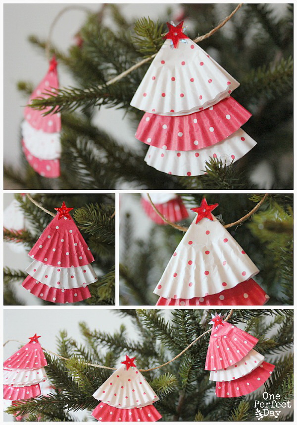 Cupcake Liner Garland. Repurpose the cupcake liners into these beautiful garland for Christmas tree or mantel decoration.