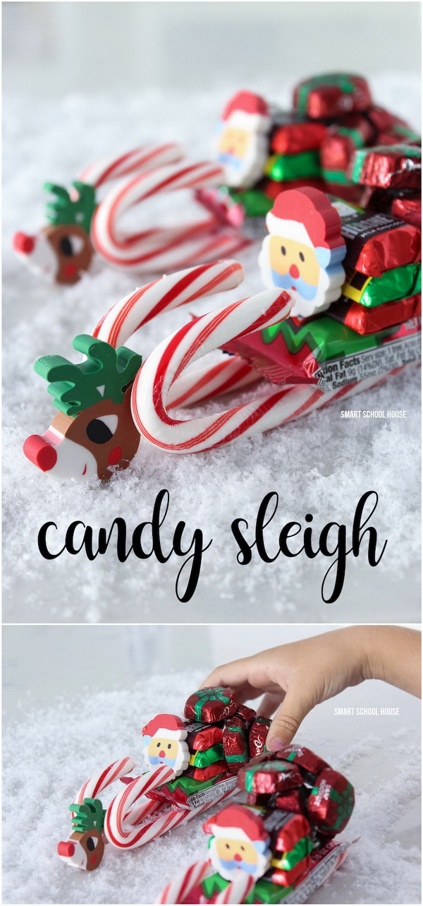 DIY Candy Sleigh. Great craft for holiday gifts that you can make!