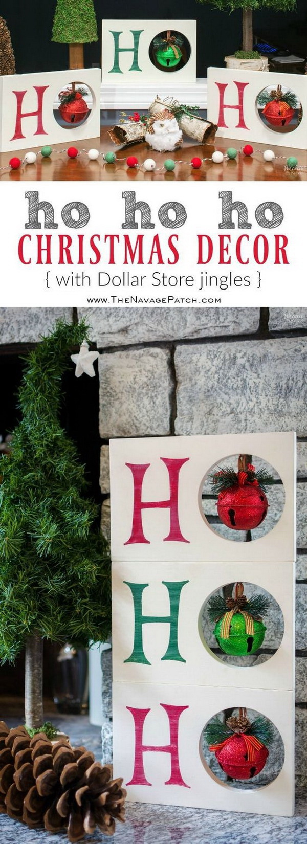 DIY HO HO HO Christmas Decor. This HO HO HO Christmas decor will look fantastic with your holiday décor!