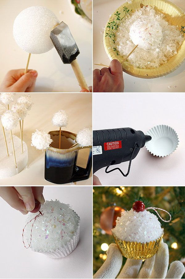 Styrofoam Ball Cupcake Christmas Ornaments. These easy to make Styrofoam cupcakes are super easy to make and turn out awesome and everyone loved them!