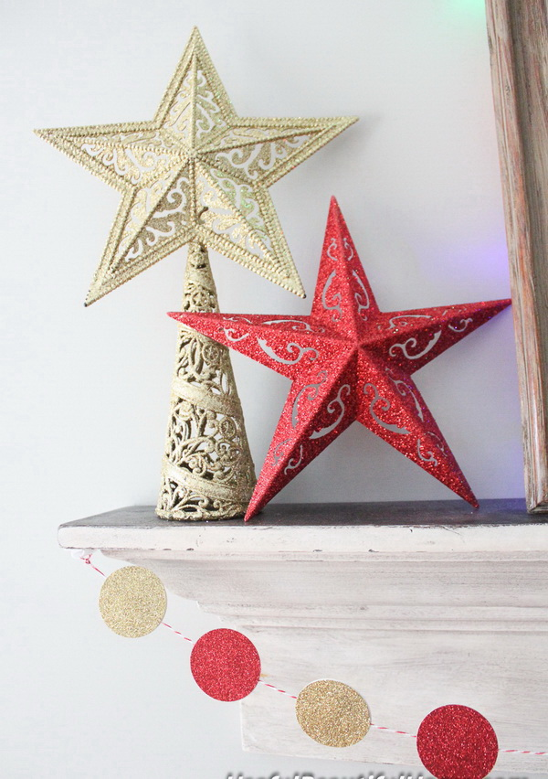 Easy DIY Glitter Stars. These glitter stars can be the DIY toppers for your Chirstmas tree or just let it alone for your home, mantel decoration!
