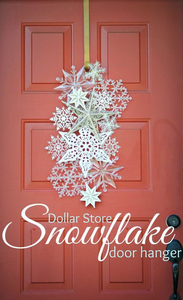 Make your home look festive for less this holiday season with easy DIY dollar store Christmas decor ideas. Wreaths, candles, centerpieces, wall art, ornaments, vases, gifts and more!Dollar Store Snowflake Door Hanger. Welcome the upcoming winter holiday with a create and elegant door hanger made with snowflake ornaments!
