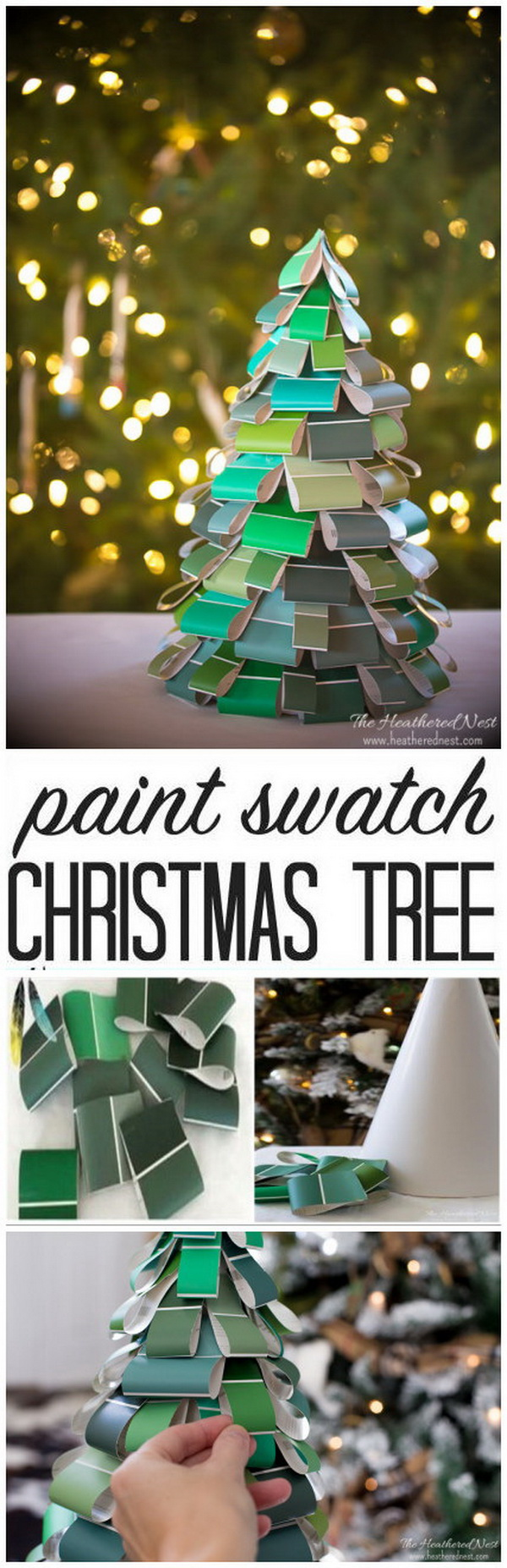 Make your home look festive for less this holiday season with easy DIY dollar store Christmas decor ideas. Wreaths, candles, centerpieces, wall art, ornaments, vases, gifts and more!DIY Christmas Tree Paint Swatch Craft.