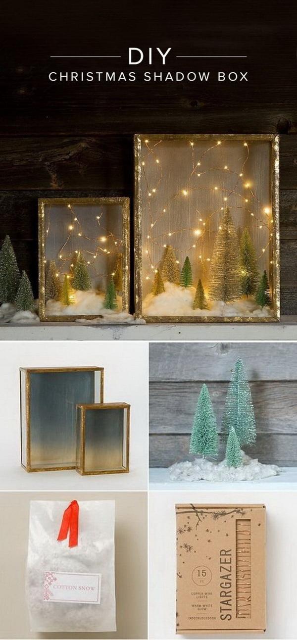 DIY Illuminated Forest Shadow Box For Christmas.