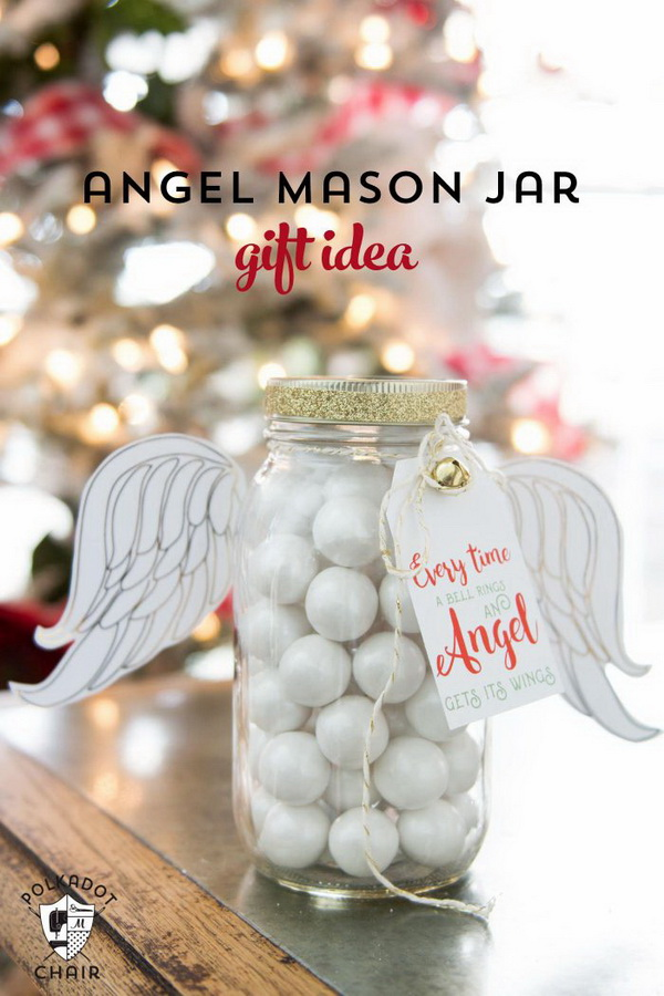 Angel Christmas Mason Jar Gifts.
