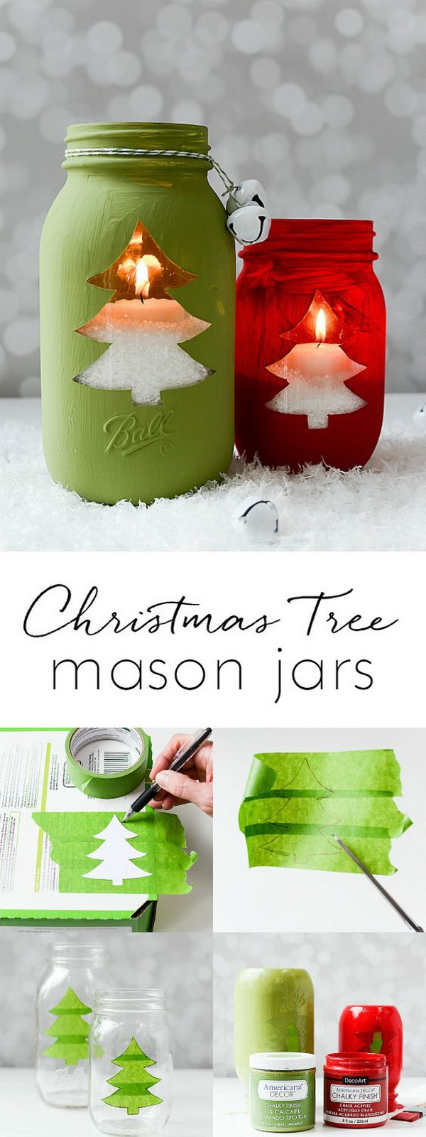 Christmas Tree Mason Jar Votive. Mason jars make great Christmas crafts for decoration and handmade gifts.