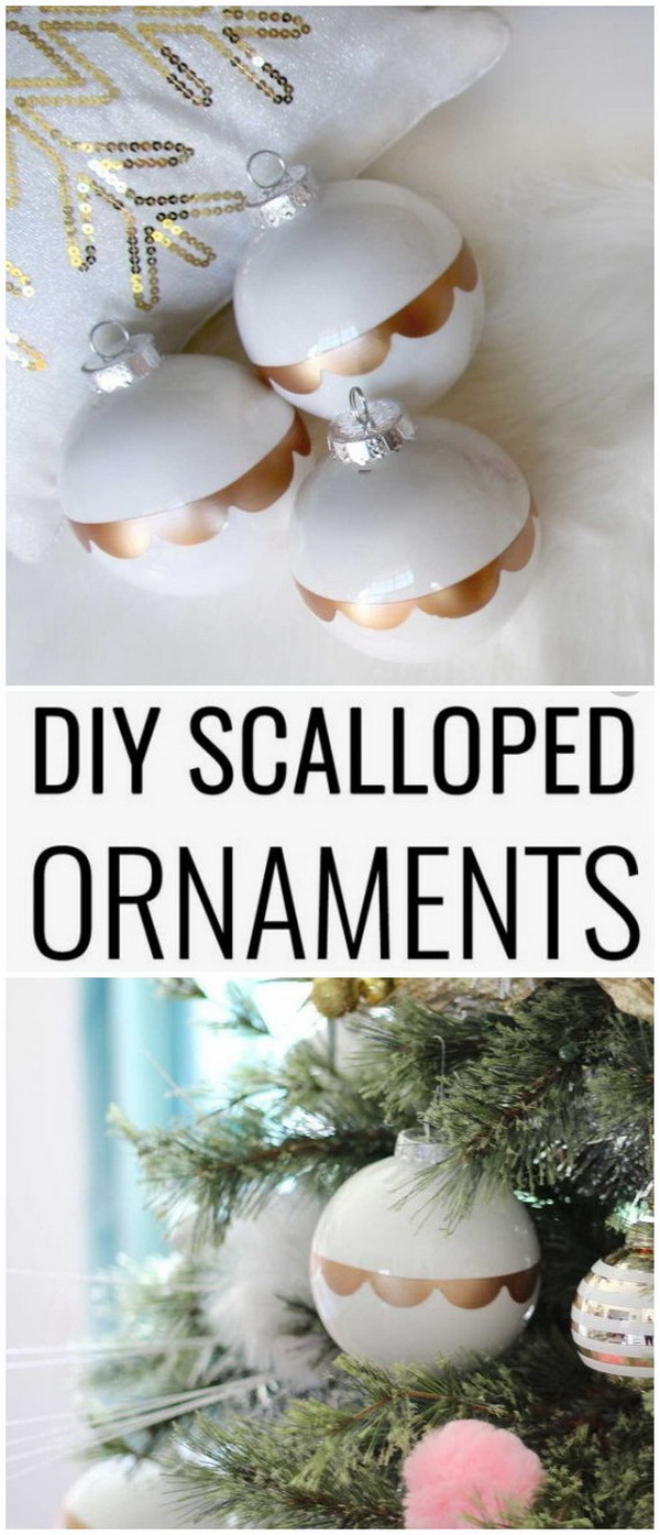 DIY Gold Scalloped Ornaments.