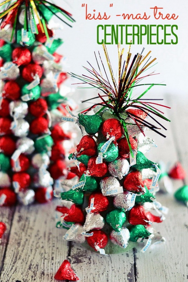 """Kiss""""-mas Tree Centerpieces. DIY little Christmas tree made with Kiss Chocolates in the red and green colors! Perfect for Christmas kids party decor! DIY candy Christmas tree made with Kiss Chocolates in the red and green colors! A perfect holiday gifts to kids!"""