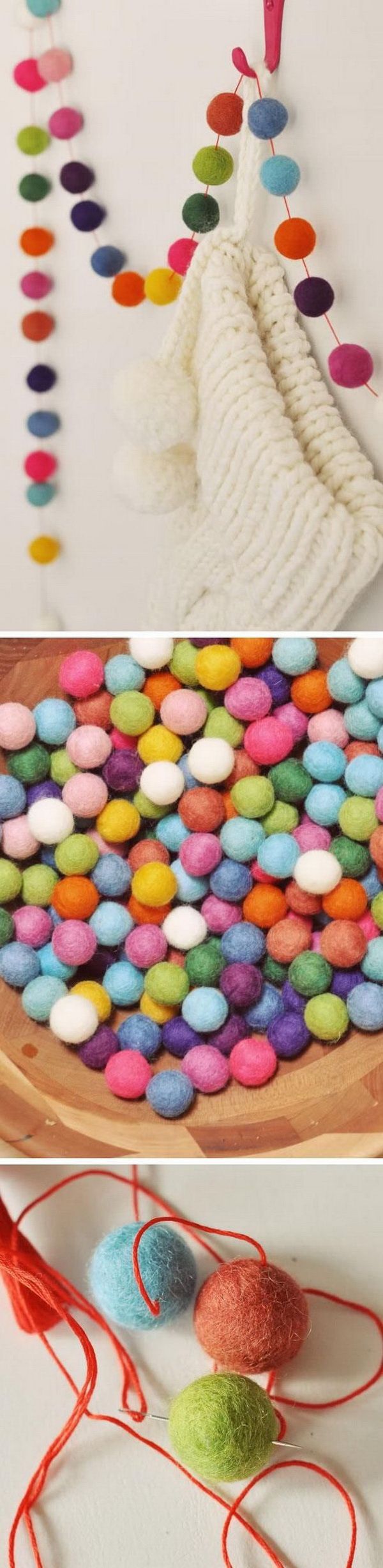 Felt Ball Garland for Christmas. DIY colorful garland made with little felt balls! Great for teen girls' bedroom decoration for ths holiday!Make your home look festive for less this holiday season with easy DIY dollar store Christmas decor ideas. Wreaths, candles, centerpieces, wall art, ornaments, vases, gifts and more!