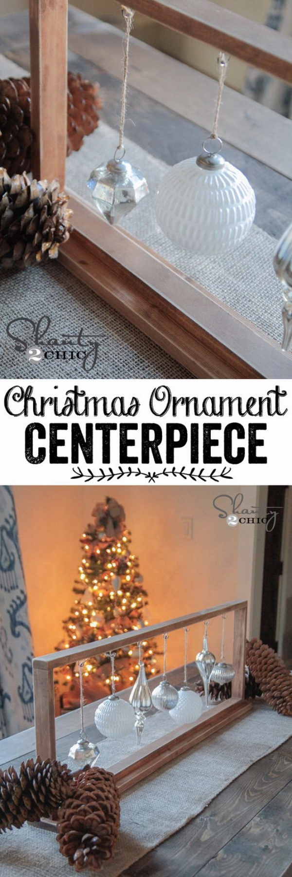 DIY Christmas Ornament Centerpiece. A DIY ornament centerpiece great for rustic farmhouse for this Christmas decoration!