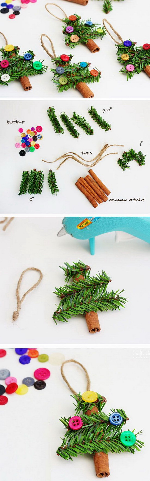 Cinnamon Stick Tree Ornaments. These cinnamon stick Christmas tree ornaments are super easy to make and perfect to cover your tree or to give as a gift to the neighbors!