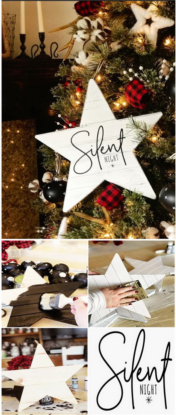 DIY Farmhouse Christmas Carol Star Tree Ornaments. A beautiful star ornament to adore your Christmas tree with the rustic chic charm! Love the simplicity and elegance of this star ornaments!