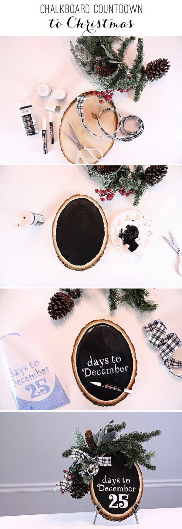 Easy DIY Chalkboard Countdown to Christmas Advent Calendar. This DIY chalkboard Christmas advent calendar is a fun way to count down the days until Christmas.