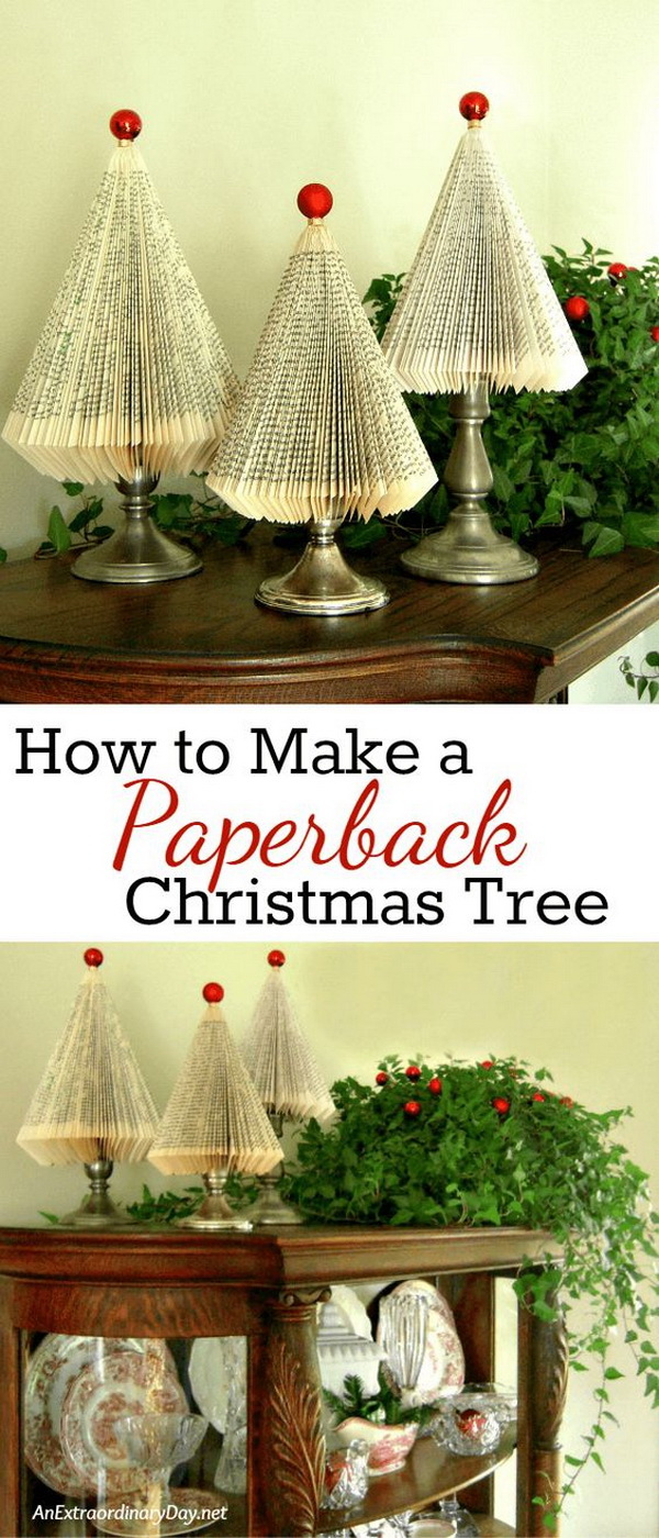 Folded Paperback Book Tree. These folded paperback book Christmas trees are super easy to make and look gorgeous on the top of your vintage cabinet or mantel for Christmas decoration.