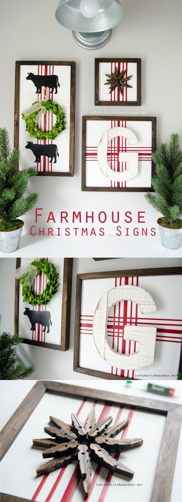 DIY Farmhouse Christmas Signs. Farmhouse trend is going strong for this Christmas season decoration! It is not expensive to achieve. Grab some supplies around your home or the dollar store and you can whip up the cutest set of Farmhouse Christmas Signs for your home in no time.