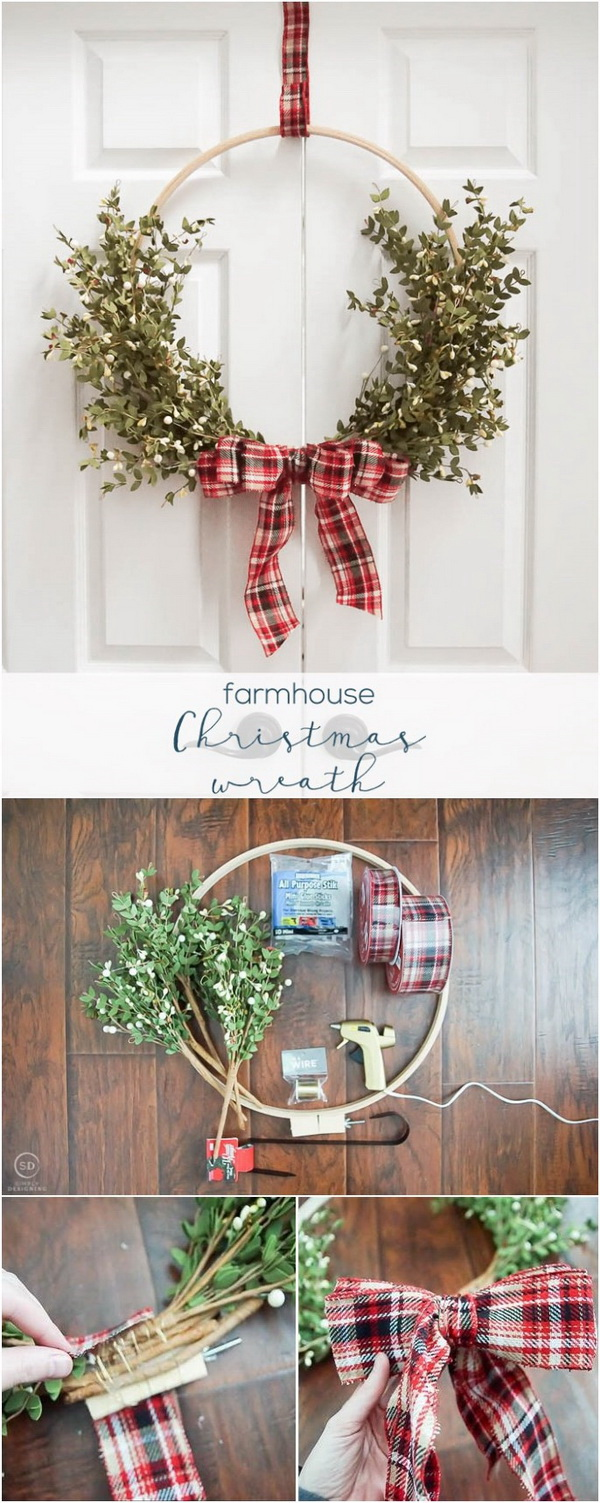 Farmhouse Christmas Wreath. This simple farmhouse Christmas wreath is such a beautiful and easy wreath you can make yourself with just a few supplies and not too much time! It is perfect for your holiday or everyday decor.