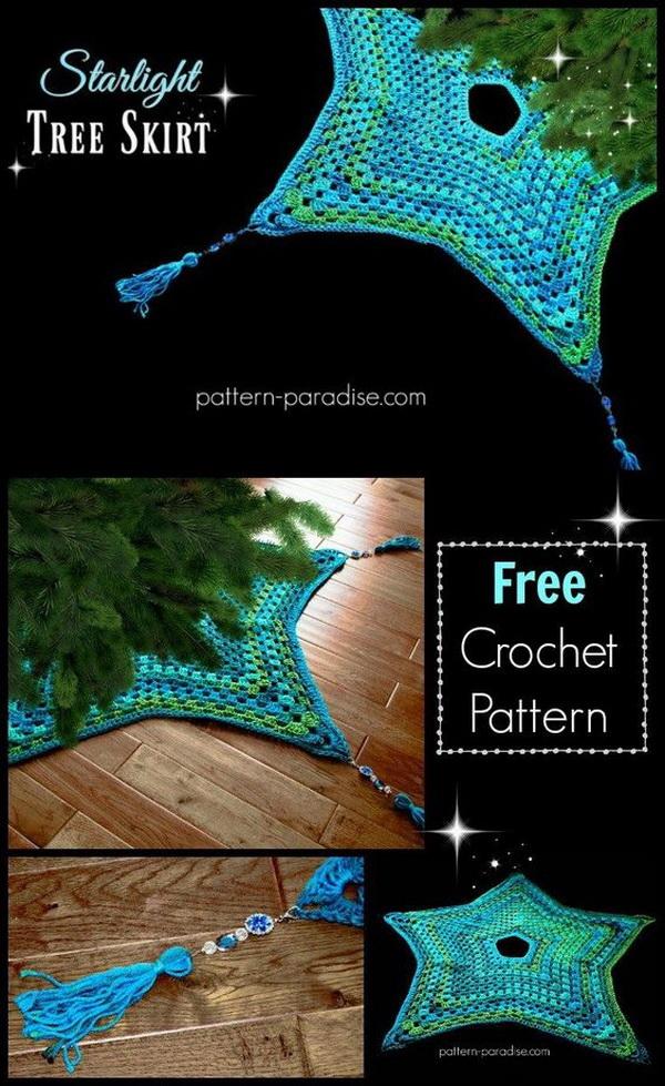 Crochet Starlight Tree Skirt.