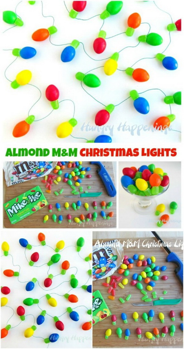Edible Almond M&M's Christmas Lights. These cute and festive little Christmas lights are made from Almond M&M's and chewy Mike and Ike Candies.