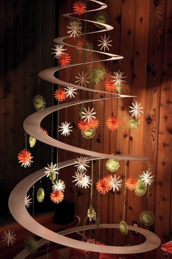 Hanging Cardboard Christmas tree with Christmas ornaments. This Christmas tree looks so chic and modern. If you do not want a traditional Christmas tree for your home this year and want something different and creative, this design is just for you!