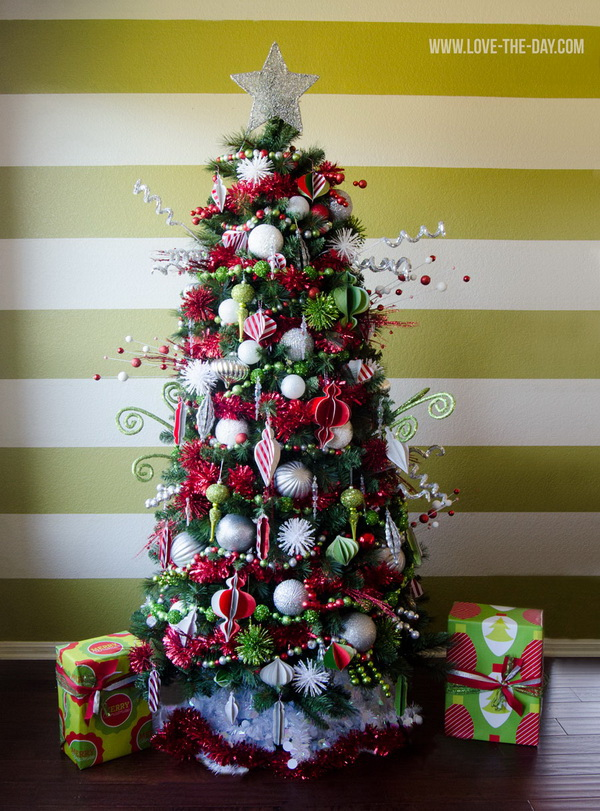 Handmade paper ornaments decorated Christmas tree. Be creative and crafty for your Christmas decorating as you can. The paper ornaments add a touch of handmade chic to this traditional red and green Christmas trees.