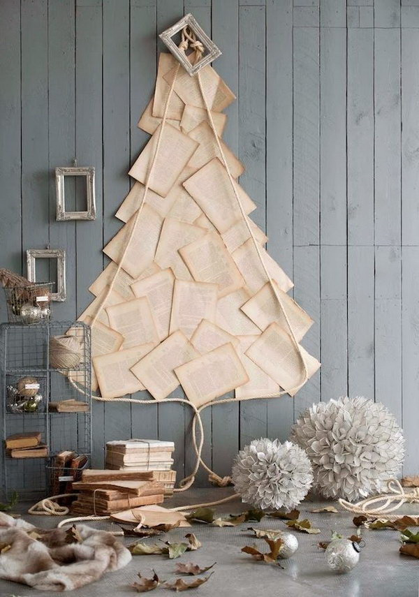 Be Creative To Make Christmas Tree With Anything You Have At Home. This  Book Page