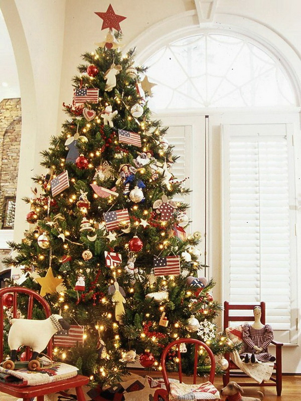 American pride Christmas tree. Show your patriotism during the holiday seson with this American pride Christmas tree!