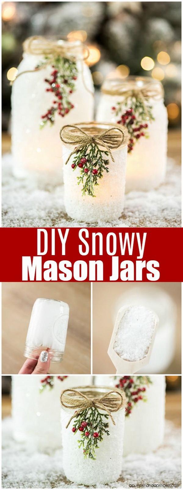 DIY Snowy Mason Jars.