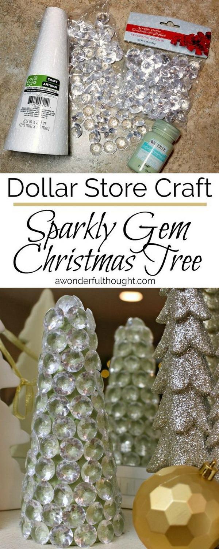 Dollar Store Sparkly Gem Christmas Tree.