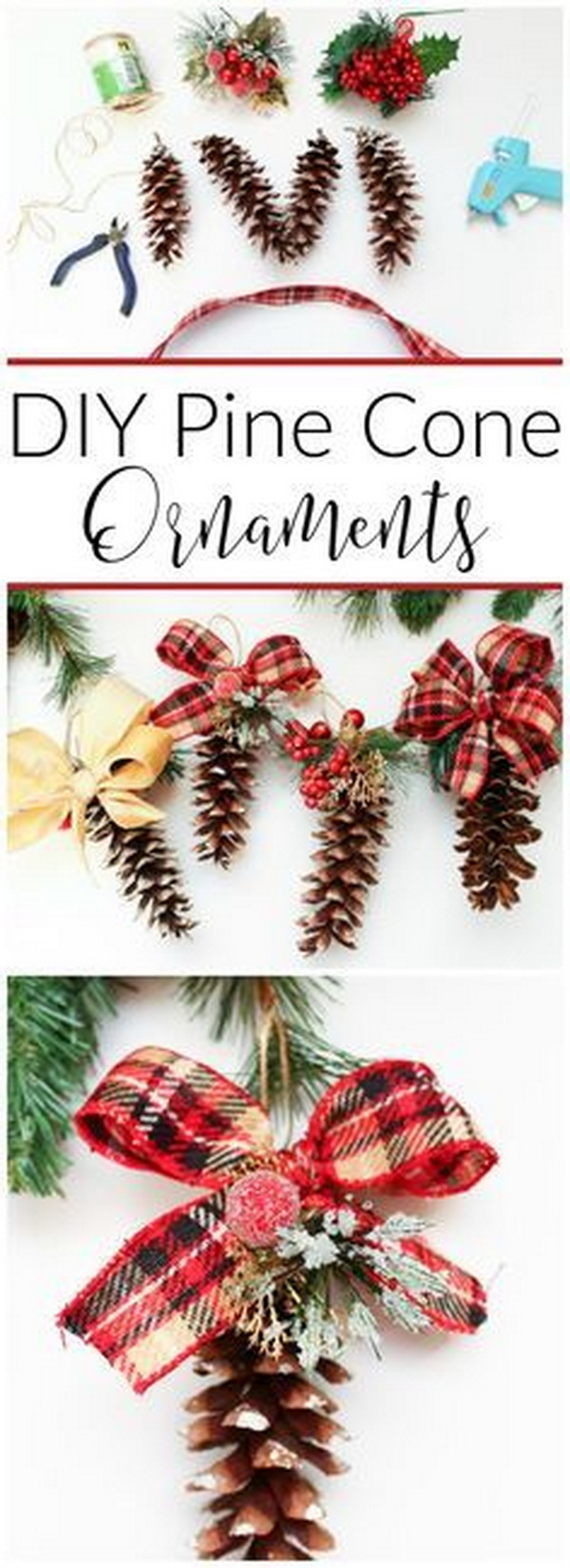 DIY Pine Cone Ornaments.