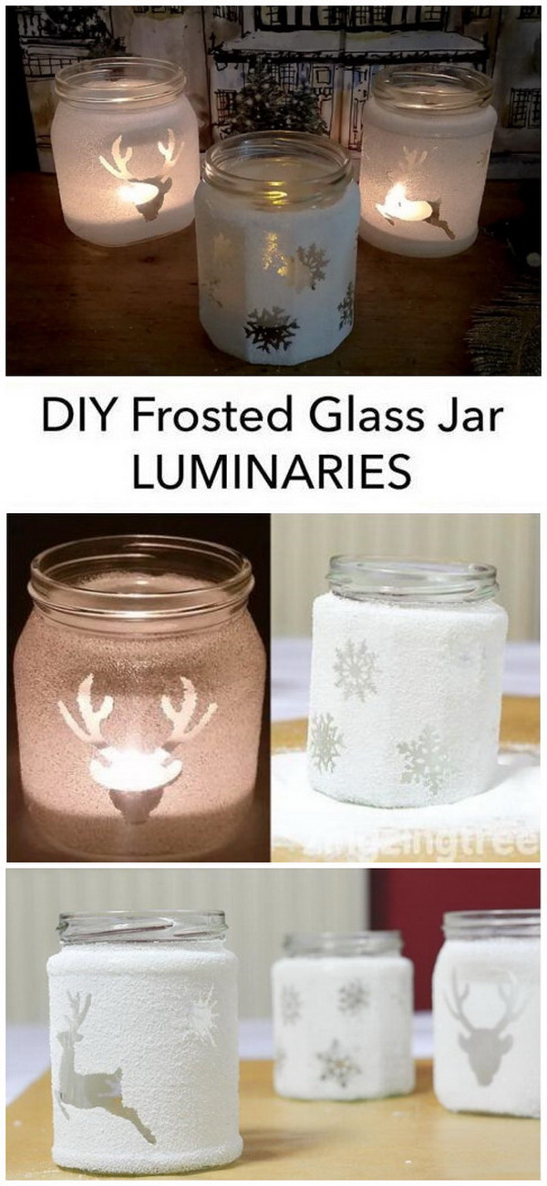 Easy DIY Frosted Glass Jam Jar Luminaries.