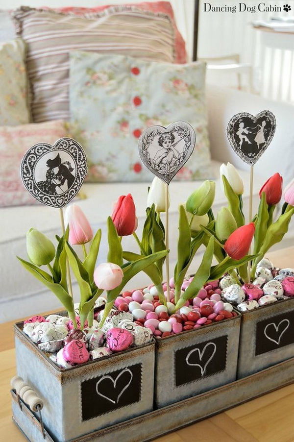 Easy Valentine's Day Chocolate Candy 'Planters'.