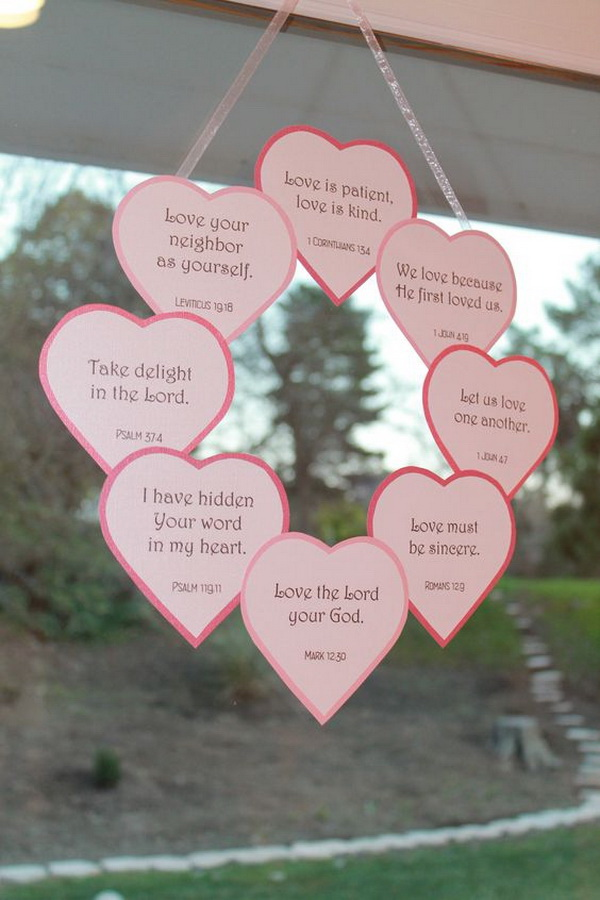 Valentine's Day Scripture wreath. A Christian craft to decorate your home on Valentine's Day!