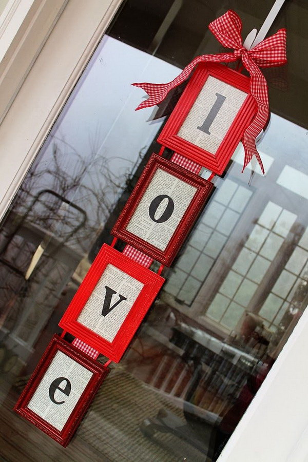 DIY Valentine's Day Door Hanger. Create a stunning door decoration by repurposing some old frames and old book pages. It is super easy to make with fun!