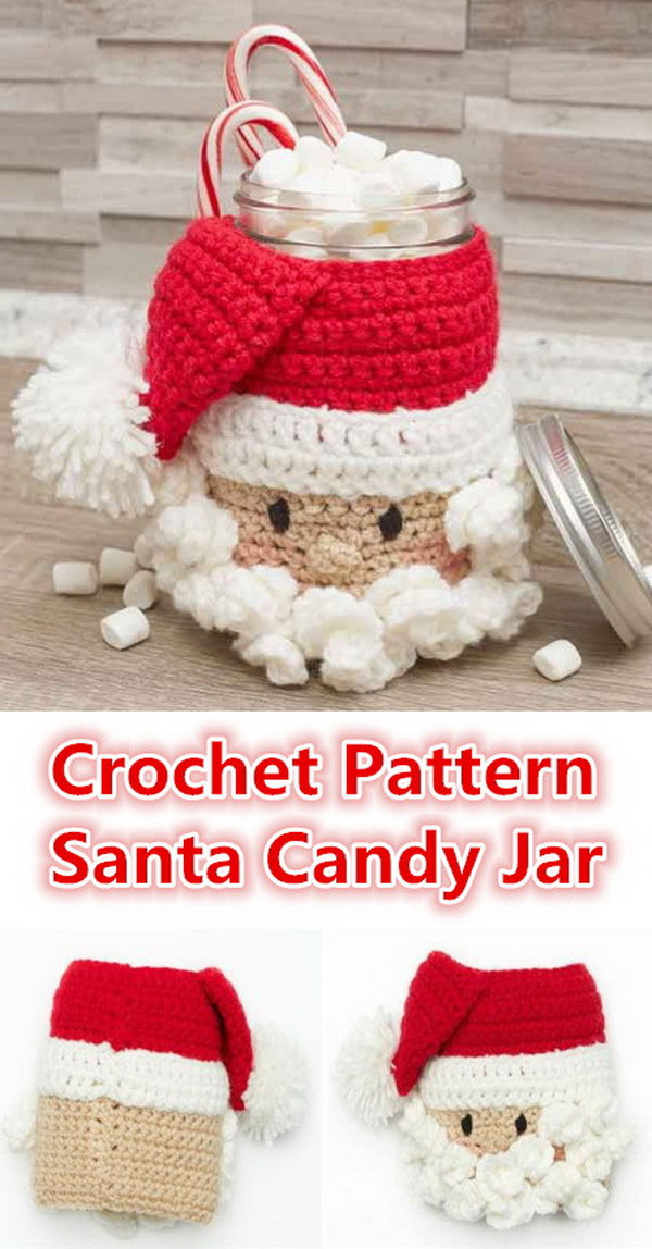 Santa Candy Jar Free Crochet Pattern.