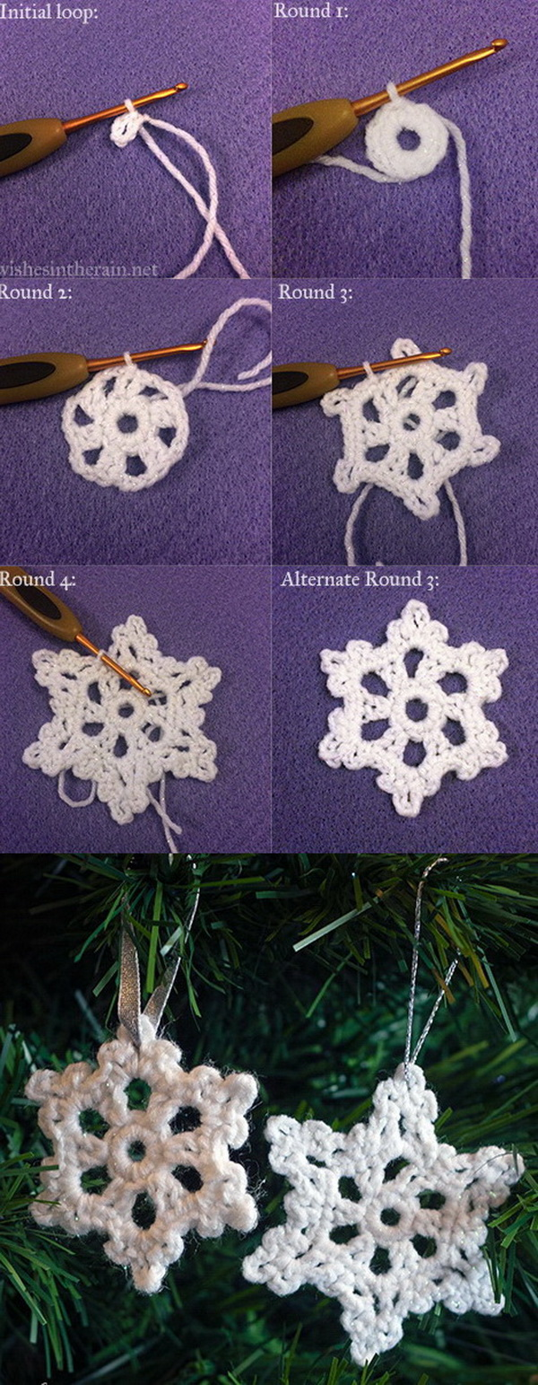 Crochet Snowflake Ornaments. Easy and fun crochet projects even for beginners! You can make a couple for friends as a small gift or used as Christmas tree ornaments!