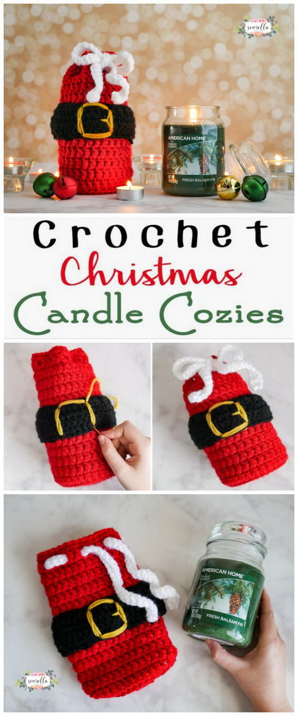 Holiday Crochet Candle Cozies. Make these cute Christmas candle cozies with free pattern - what a great hostess or white elephant gift!