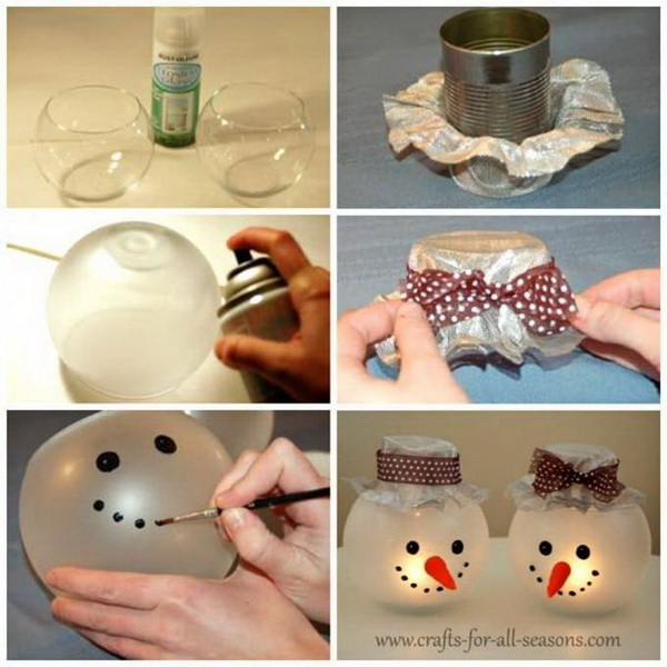 DIY Snowman Candle Holders.