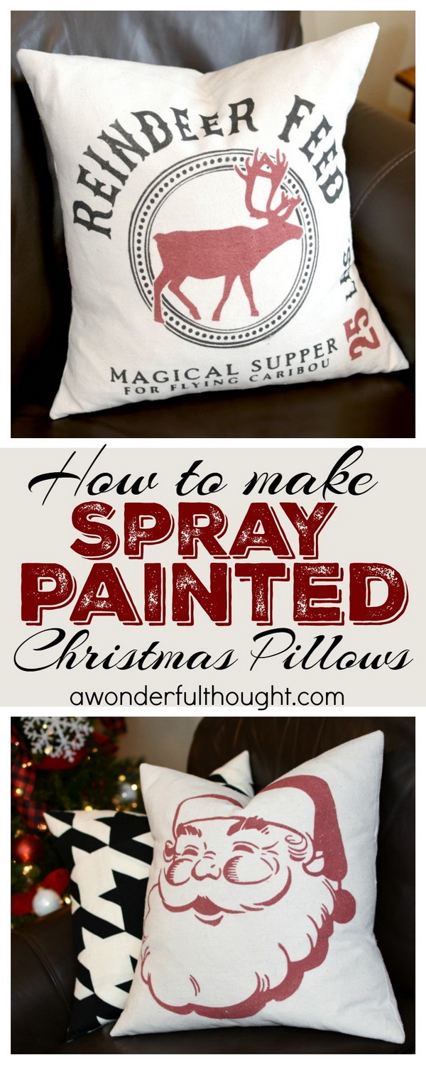 DIY Spray Painted Christmas Pillows. These spray painted Christmas pillows are super fun and esy to make and will add the vintage look and charm to your living room or bedroom.
