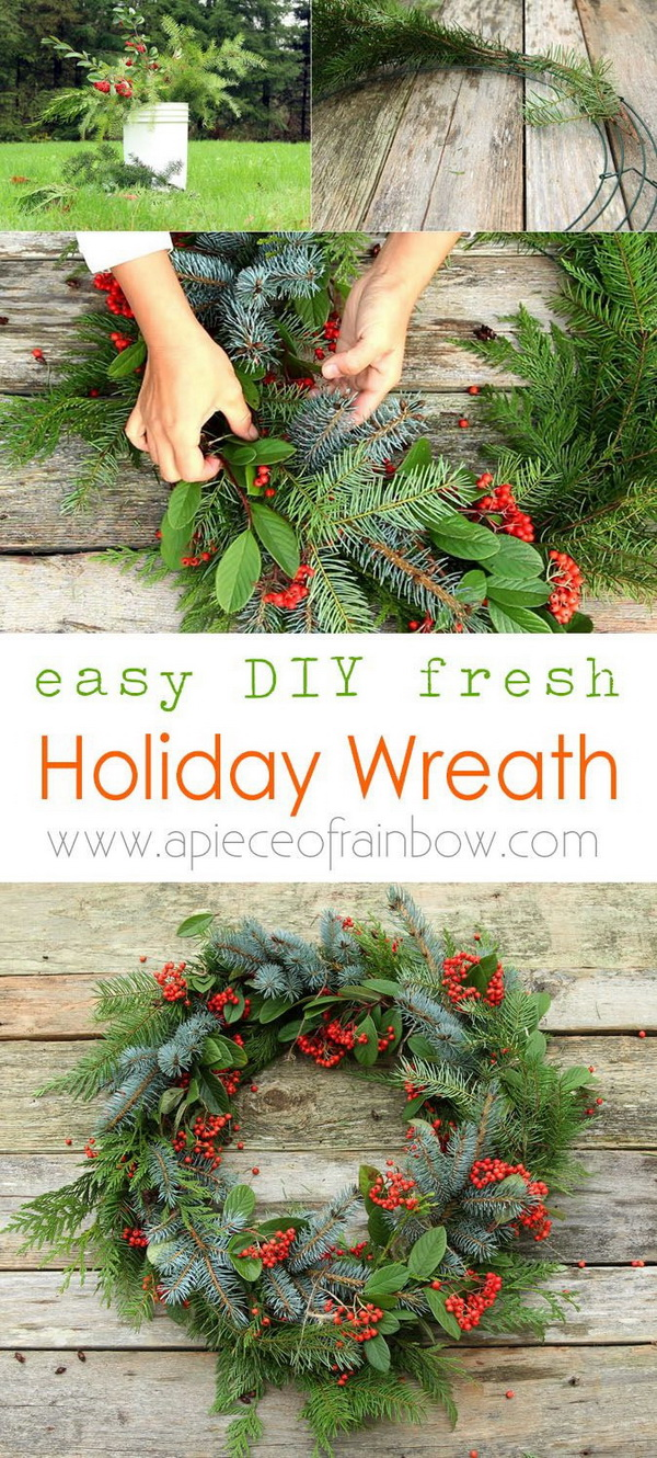 Fresh Christmas Wreath. Make a beautiful Christmas wreath using fresh evergreen cuttings in 20 minutes!