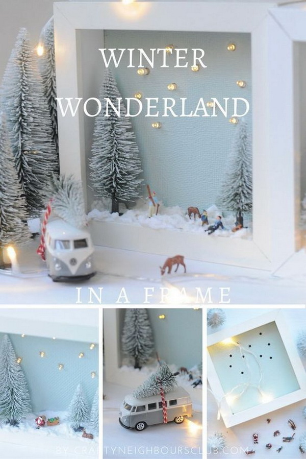 DIY Winter Landscape. A winter landscape in the picture frame brings anticipation into the Christmas season.