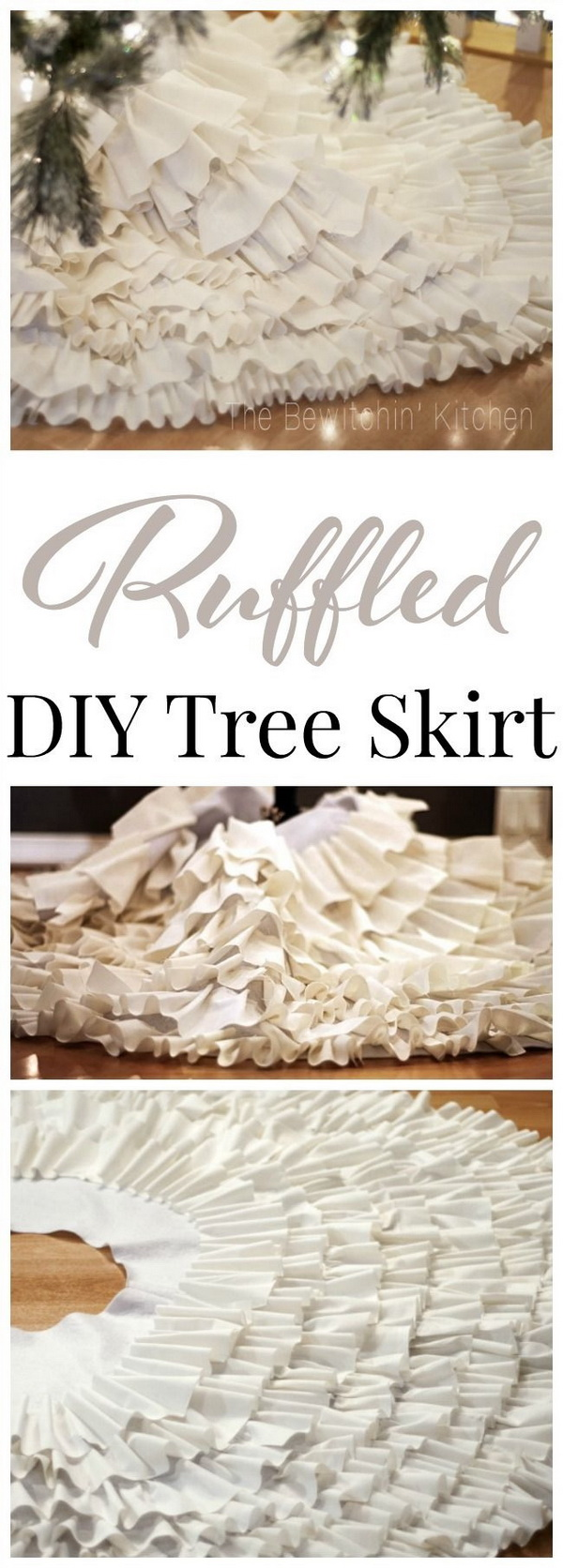 DIY Ruffled Tree Skirt. This no sew DIY ruffled tree skirt is an easy Christmas craft to bring a classy decor to your Christmas tree.